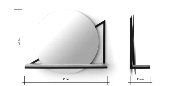 Espejo de pared con estante Huldra chollo en Made