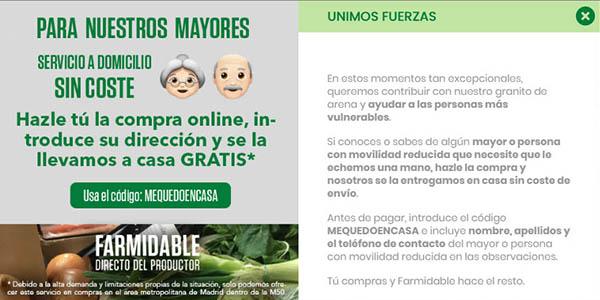 Farmidable productos frescos con envío gratis para personas vulnerables por el coronavirus