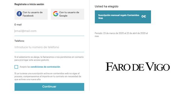 Edición digital Faro de Vigo 1 mes GRATIS