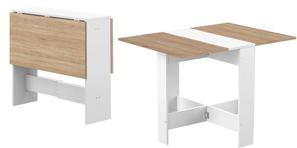Mesa plegable de madera con 2 puertas abatibles barata en Amazon