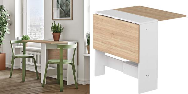 Mesa plegable de madera con 2 puertas abatibles chollo en Amazon