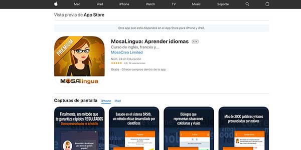 Mosalingua Apps Premium gratis para iOs y Android