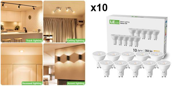 Pack x10 LE Bombilla LED GU10 de 4W y 350 lúmenes barato en Amazon