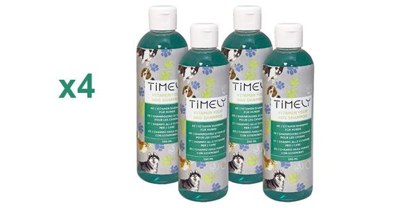 Pack x4 Champú para perros Timely Vitamin Your Dog de 250 ml/ud barato en Amazon