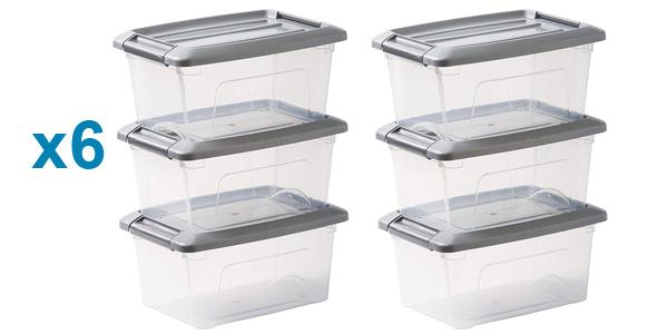 Pack x6 cajas transparentes apilables de almacenamiento Iris Ohyama con cierre de clip baratas en Amazon