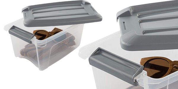 Pack x6 cajas transparentes apilables de almacenamiento Iris Ohyama con cierre de clip chollo en Amazon