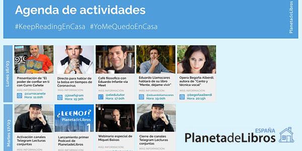 Planeta de Libros actividades online culturales gratis