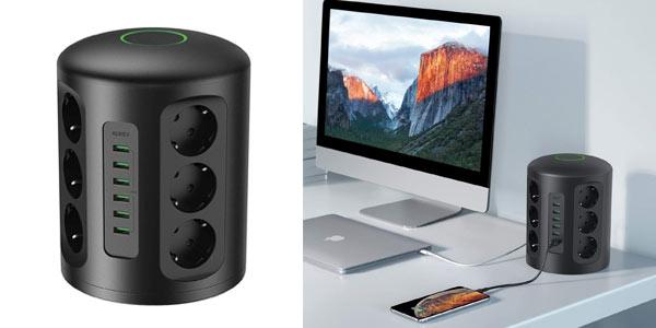 Regleta vertical Aukey con 12 tomas y 6 puertos USB barata en Amazon
