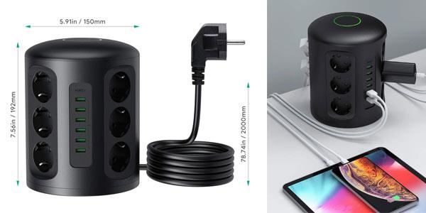 Regleta vertical Aukey con 12 tomas y 6 puertos USB en oferta en Amazon
