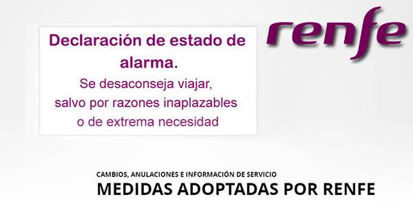 Renfe cancelación billetes gratis por el coronavirus