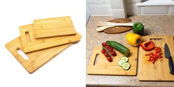 Set de 3 tablas de cortar para cocina de bambú Home Treats chollo en Amazon