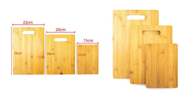 Set de 3 tablas de cortar para cocina de bambú Home Treats en oferta en Amazon