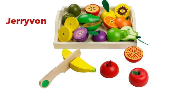 """Set de Frutas y Verduras de madera Jerryvon """"para cortar"""" barato en Amazon"""