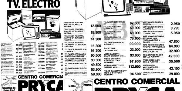 PRecios vídeos VHS y Betamax en los 80