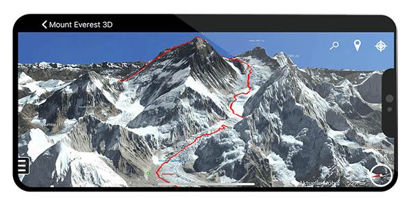 Aplicación móvil del Everest en 3D