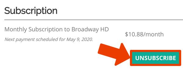 Cancelar suscripción BroadwayHD