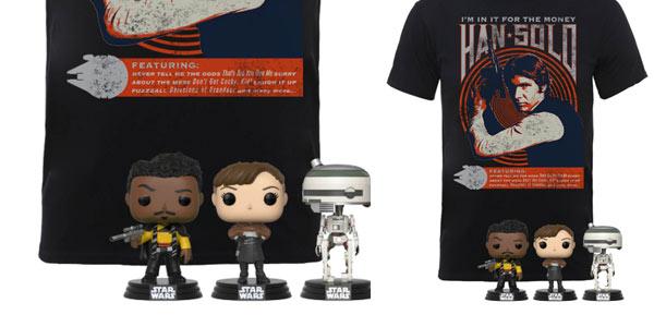 Camiseta Han Solo + 3 Funko Pops a buen precio en Zavvi