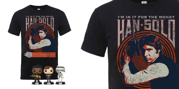 Camiseta Han Solo + 3 Funko Pops en oferta en Zavvi