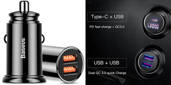 Cargador de coche USB Baseus 30W con carga rápida en AliExpress