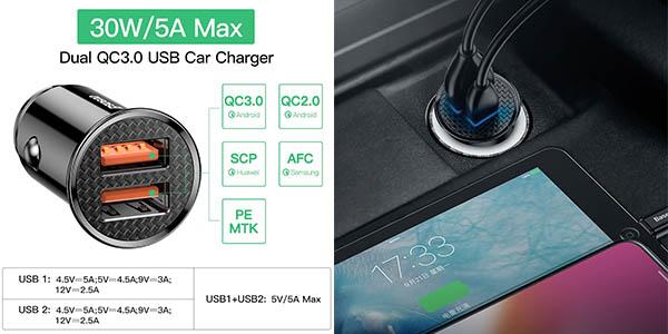 Cargador de coche USB Baseus 30W con carga rápida barato
