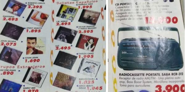 Cassettes y Compact Disc precio en pesetas