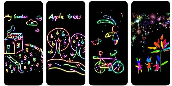 Doodle Joy Kid aplicación para dibujar con efecto neón gratis
