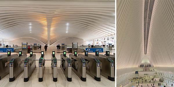 Oculus estación metro y tren de Nueva York diseñada por Santiago Calatrava