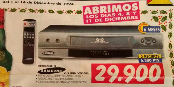 Precio VHS en pesetas
