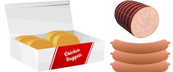 Nuggets y salchichas perjudiciales