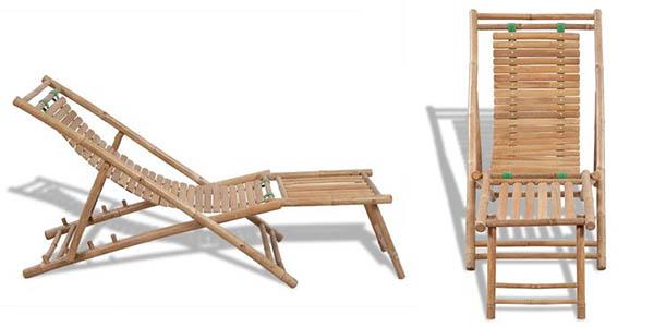 silla de bambú con reposapiés de relación calidad-precio estupenda