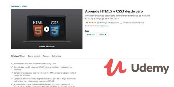 Udemy curso HTML5 y CSS3 gratis