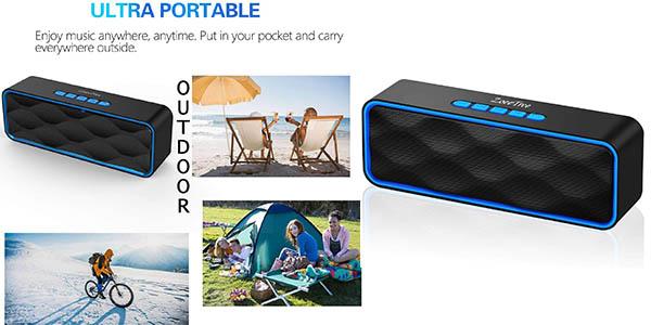 altavoz portátil con Bluetooth ZoeeTree para viajar en coche chollo