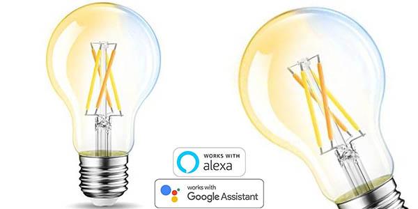 2x Bombillas de filamento inteligentes LED E27 de 6.5W