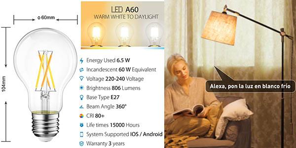 2x Bombillas de filamento inteligentes LED E27 de 6.5W baratas