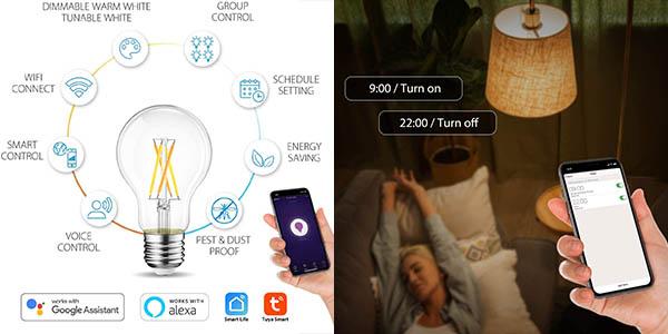 2x Bombillas de filamento inteligentes LED E27 de 6.5W en Amazon