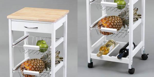 carrito de cocina Kit Closet de ManoMano resistente con botellero chollo