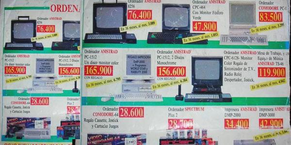 Catálogo ordenadores Comodore Amstrad precio pesetas Prycad