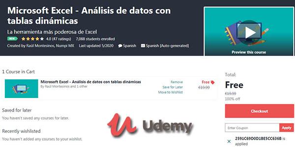 Curso gratis de Excel y análisis de datos en Udemy