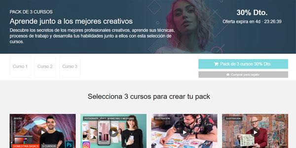 """Pack de 3 cursos en Domestika """"Aprende con los mejores creativos"""" con un 30% de descuento por tiempo limitado"""