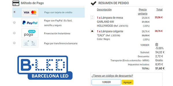 iluminación BarcelonaLED promoción en primer pedido online