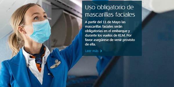 KLM uso de mascarillas en vuelos post-covid