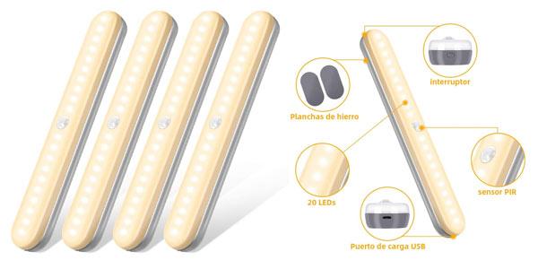 Luz LED recargable con sensor de movimiento para armarios