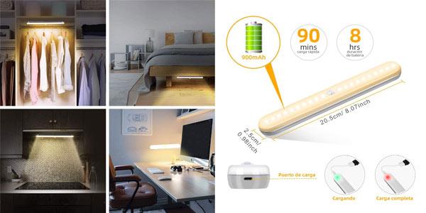 Luz LED recargable con sensor de movimiento para armarios barata