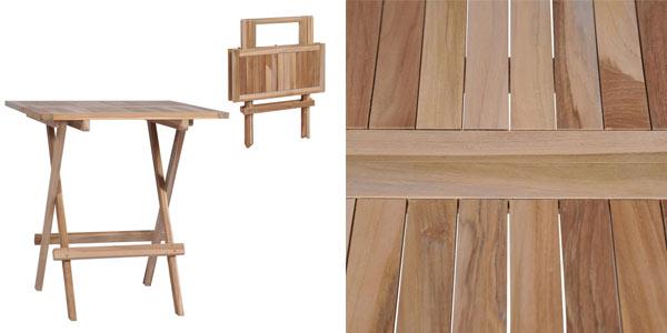 Mesa de teca plegable maciza barata en ManoMano