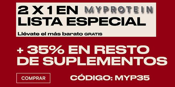 MyProtein promoción 2x1 en productos de nutrición y vitaminas
