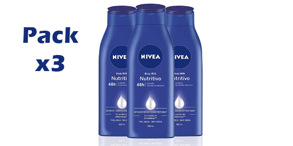 Pack x3 NIVEA Body Milk Nutritivo de 400 ml/ud barato en Amazon