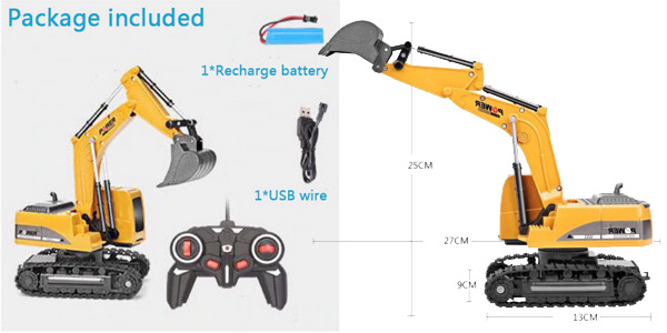 Excavadora de juguete RC de 2,4 GHz chollo en AliExpress