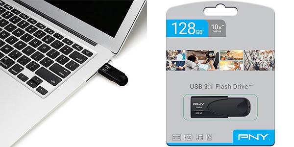 Memoria USB 3.1 PNY Attaché 4 de 128 GB en Amazon
