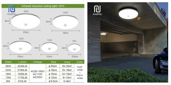Plafón LED Marpou con sensor de movimiento PIR chollo en AliExpress