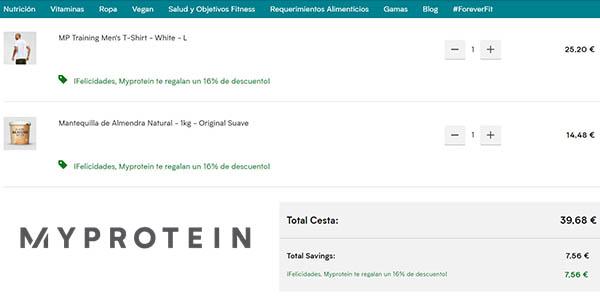 productos de nutrición y entrenamiento en Myprotein con código descuento mayo 2020